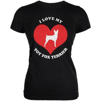 DCCKJY1 Valentines I Love My Toy Fox Terrier Black Juniors Soft T-Shirt