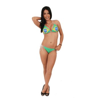 WOMEN'S JUNIORS BRAZIL FLAG HOT BIKINI CANARINHA SOCCER FUTBOL SWIMWEAR BRASIL-TOP LARGE BOTTOM SMALL