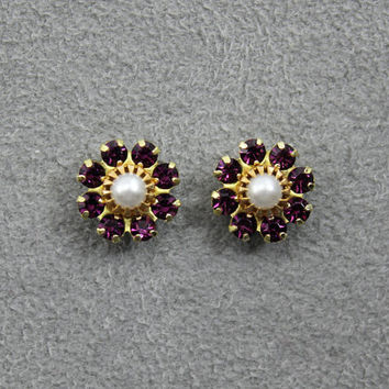 10 mm Round 9 Stone Cluster Swarovski Amethyst Crystal Magnetic Earrings With Pearl Center