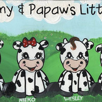 "Little Cows All in a Row (Personalized Sign) Wall Decor, Cow Sign, Farm Sign, Wood Sign, Custom Sign, Hand made Sign, 6"" X 12"""