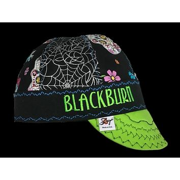 Metallic Sugar Skull Print Custom Embroidered Hybrid Welding Cap