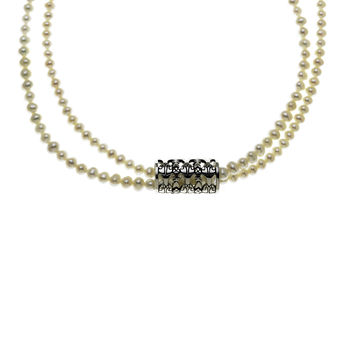 All The World's A Stage Sterling Silver White Pearl Necklace