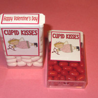 VALENTINE CUPID KISSES,candy,tic tacs,labels,stickers,kids,favors,with poem