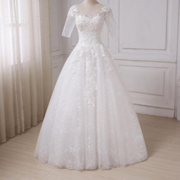Half Sleeves A-line Wedding Dresses Scoop Neck Applique Beaded Sequined Tulle Bridal Gowns