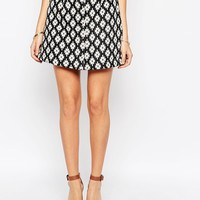 ASOS A Line Skirt In Mono Jacquard With Button Through