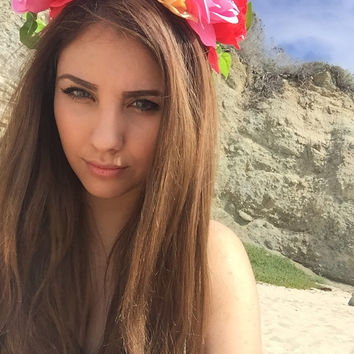 all types of colors flower crown perfect for the bohemian  goddess and raver, festivals, teen, etc