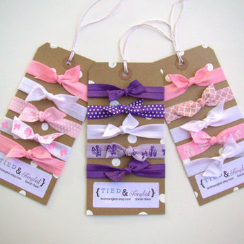 Ballet Hair Tie Set, Elastic Hair Ties, Ballet Themed, Stocking Stuffer, Pointe Shoes, Little Girl Gift, Purple, White