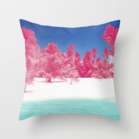 Pink Palms Throw Pillow by Kate & Co.