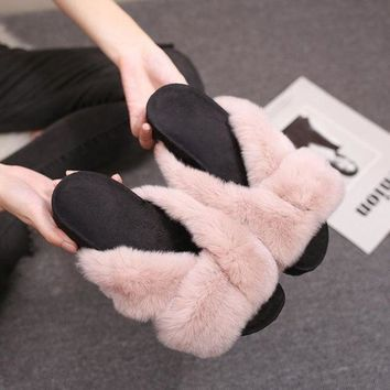 ac DCK83Q Shoes Korean Rabbit Flat Autumn Strong Character Slippers [79792504857]