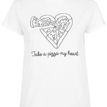 PETITE Exclusive Pizza My Heart Tee by Tee and Cake - White