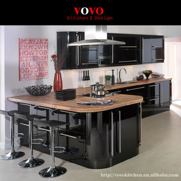 High gloss black and latte lacquer kitchen cabinets