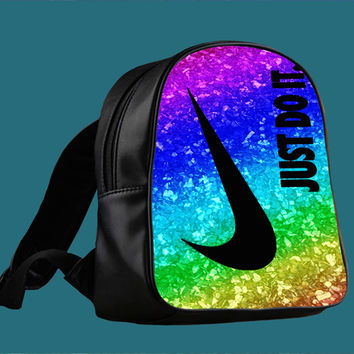 Nike Just Do It Rainbow Glitter Sparkle Print for Backpack / Custom Bag / School Bag / Children Bag / Custom School Bag ***