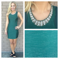 Green Beaded Sleeveless Holiday Dress