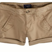 AEO Women's Sateen Midi Short (Khaki)
