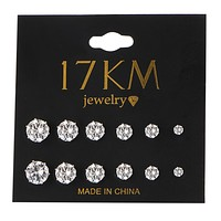 6 Pair/set Crystal Stud Earrings Set