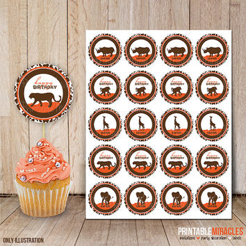 Safari baby shower or birthday decoration / Zoo birthday party cupcake toppers / Jungle baby shower round stickers / Orange brown circles
