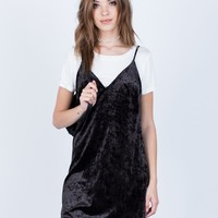 Crushed in Velvet Slip Dress