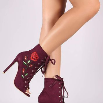 Suede Embroidered Rosette Lace Up Stiletto Ankle Boots