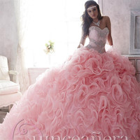 2016 Pink Removable Quinceanera Dresses Sweetheart Beads Organza Ball Gown Floor-Length Vestidos De 15 Anos Sweet 16 Dresses