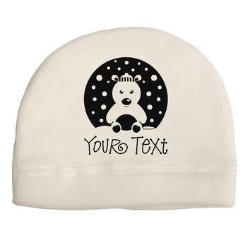 Personalized Matching Polar Bear Family Design - Your Text Child Fleece Beanie Cap Hat