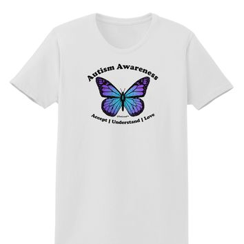 Autism Awareness - Puzzle Piece Butterfly Womens T-Shirt