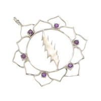 Sacred Geometry Lotus Flower with 13 Point Lightning Bolt and 6 Amethyst Gems in 925 Sterling Silver ~ Grateful Dead