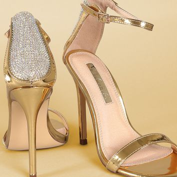 Liliana Rhinestone Metallic Ankle Strap Open Toe Stiletto Heel