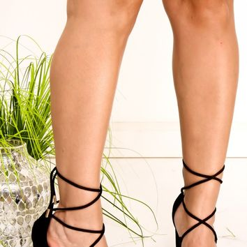 BLACK ROUND TOE SUEDE LACE UP CHUNKY COLUMN HIGH HEEL