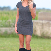 It's A Sure Thing Knit Sweater Dress - Charcoal