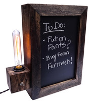 W/S Chalkboard Sign Edison Lamp, Brown