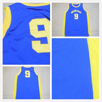 New Jimmy Brooks #9 Drake Degrassi Jersey Blue Retro Community HS Vest Basketball Jerseys Mens Movie Sports Shirt Uniform