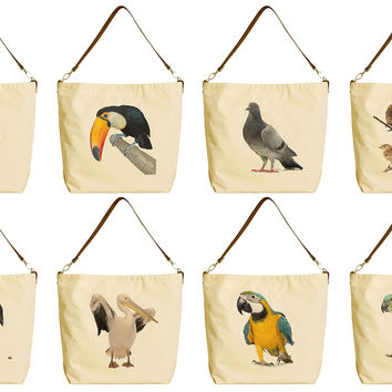 Women Wild Birds Beige Print Canvas Tote Bag with Leather Strap WAS_29