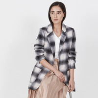 Plaid Wool Boyfriend Coat