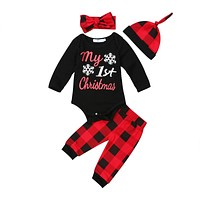 4PCS Set My 1st Christmas Newborn Baby Boy Girl Clothes Long Sleeve Black Romper Tops+Red Plaid Pant Hat Headband Xmas Clothing
