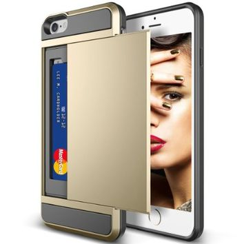 iPhone 5S Case, iPhone 5 Case, Vofolen® Impact Resistant iPhone 5S Cover [Card Slot Wallet Case] Anti-scratch Bumper Skin Hybrid Armor Defender Protective Shell for Apple iPhone 5 5S - Champagne