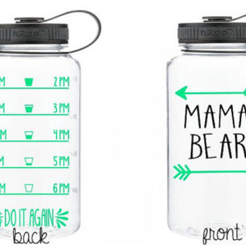 Custom 32 oz Water Bottle - Mama Bear - Water Log - Water Tracker - Glitter - Neon - Any Color - Mom Life - Water Log - Stay Hydrated