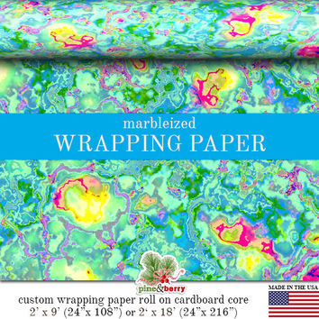 Easter Pastel Marbleized Wrapping Paper | Custom Pastel Marbleized Gift Wrap Paper Roll 9 feet or 18 feet Great For Any Occasion.