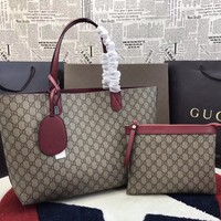 GUCCI WOMEN'S LEATHER HANDBAG SHOPPING TOTE BAG
