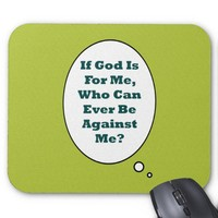 Romans 8:31 On Acid Green Background. Motivational Mouse Pad from Zazzle.com