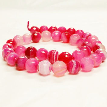 Striped Agate Faceted Round Pink Beads, 10mm Rose Quartz, Natural Agate Beads, Facted Natural Rose Quartz, Pink Quartz