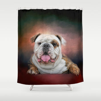Hanging Out - Bulldog Shower Curtain by Jai Johnson