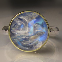 Rainbow Moonstone Ring - Man in the Moon Gemstone - 18k Gold and Sterling Silver