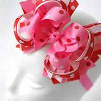 Valentine's Day Big bow headband for girls, Baby headband bow, Pink and red bow for toddlers, Valentine's Day Baby big bow headband