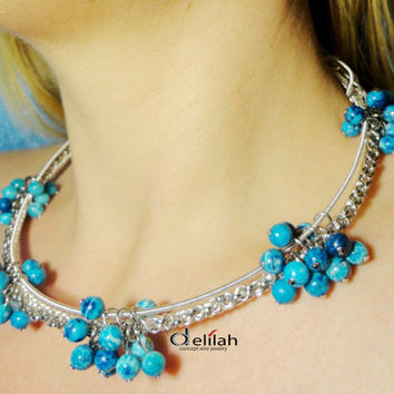 Blue Bunches Wire Wrapped Necklace, Chocker Necklace, OOAK Necklace, Blue Crazy Lace Agate, Blue Necklace, Delicate Necklace