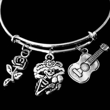 Day of the Dead Skull Guitar Rose Sugar Skull Jewelry Expandable Charm Bracelet Silver Adjustable Bangle One Size Fits All Gift Land Of The Dead