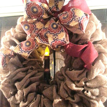 "3 PIECE set~Burlap Wreath with Unique Wreath Holder, Holds Wreath & 4"" LED Candle Also Included"