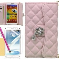 Galaxy Note 3 Case, XIANA Handbag Style with Man-made Crystal Diamond Wallet Leather Case with Credit Card Slots Suitable For Samsung Galaxy Note3 N9000(Pink),Including Stylus,Screen Protector and Cleaning Cloth