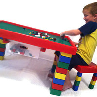 Children's Table and Chair inspired by LEGO pieces - Kids Activity Table - Child's Desk