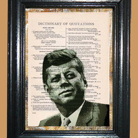 Ex - President John F. Kennedy Graphic Dreams Art - Vintage Dictionary Page Book Art Print Upcycled Page Art