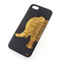 Black Bamboo Wood Cover - Aztec Elephant